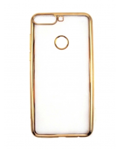 Capa Ultra Slim Gel Huawei Y7 2018 Transparente / Dourada