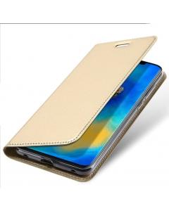 Capa Huawei Mate 20 Pro Flip DX Dourada c/ Apoio