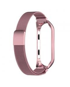 Bracelete Xiaomi Mi Band 3 / 4 Metal Rosa