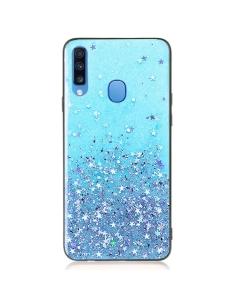 Capa Samsung Galaxy A20s Glitter Wsky Liquid Azul