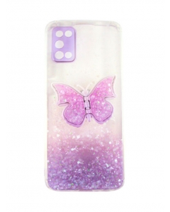 Capa Samsung Galaxy A02s Glitter Borboletas Style 03 com Apoio