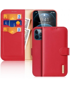 Capa Iphone 12 Pro Flip DX Hivo Vermelho c/ Apoio e Slot Cartões