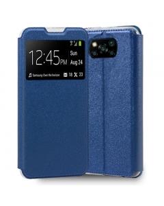 Capa Xiaomi POCO X3 Flip Alta Qualidade Azul c/ Apoio e Janela