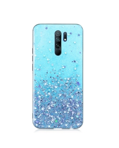 Capa Xiaomi Redmi 9 Glitter Wsky Liquid Azul
